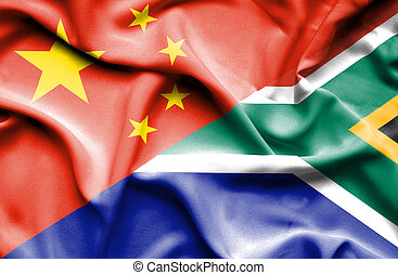 Waving flag of South Africa and China