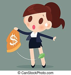 Business woman losing money from a bag