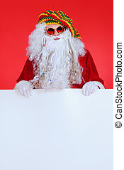 jamaica santa - Casual Santa Claus hippie holds white board...