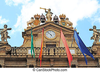 city hall in pamplona, basque country - baroque city hall in...