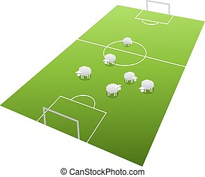 Sheeps on the football field, cartoon illustration