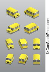 Schoolbus in different positions