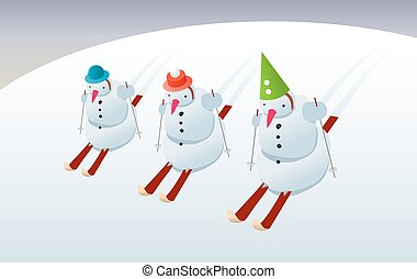 Snowmans on skis - Three snowmans on skis, cartoon...