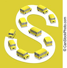 Schoolbus - School bus on the road, 3D illustration