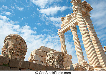 Trajan temple in Pergamon Turkey - Trajan Temple in ancient...