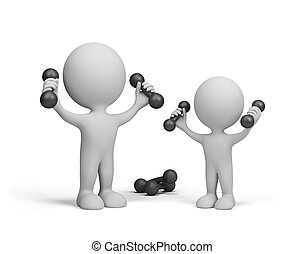 Sports family - Dad and son do exercises with dumbbells. 3d...