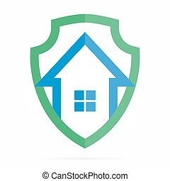 Logo combination of shield and house - Vector logo or icon...