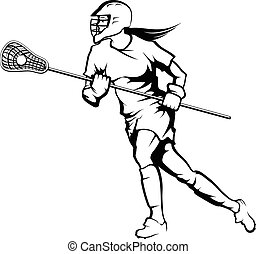Female Lacrosse Player - Illustration of a female lacrosse...