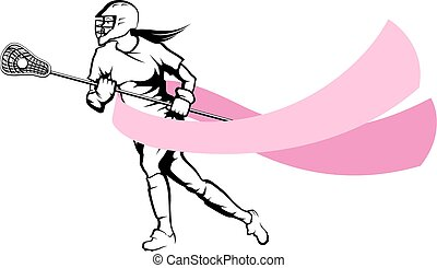 Female Lacrosse Player With Breast Cancer Ribbon -...