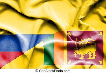 Waving flag of Sri Lanka and Columbia