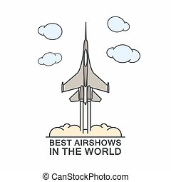 Military airplane in the sky Typography vector concept