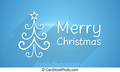 merry christmas greeting card with long shadows