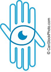 Vector logo hand with eye - Vector logo or icon design...
