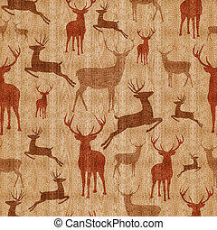 Reindeer seamless pattern vintage hipster texture background...