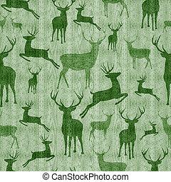 Reindeer vintage seamless pattern background - Reindeer...