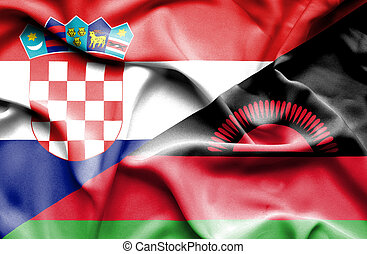 Waving flag of Malawi and Croatia