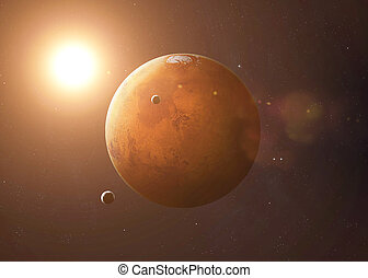 Shot of Mars taken from open space. Collage images provided...