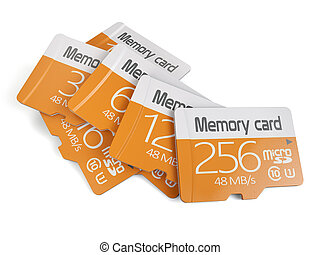 Memory micro sd card heap - 3d rendering of memory micro sd...