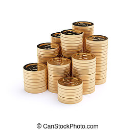 Golden coins isolated