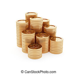 Stack of golden coins isolated