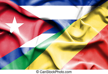 Waving flag of Congo Republic and Cuba