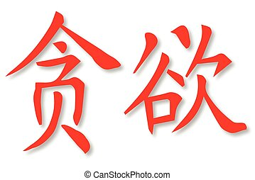 Greed - Chinese writing for the word greed over a white...