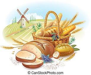 Breads in basket against  landscape