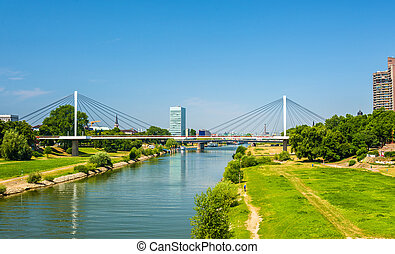View of the Neckar river in Mannheim - Germany