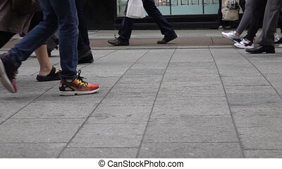 people walking in slow motion