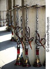 Shisha pipes as Souq Waqif - Shisha hookah pipes lined up...