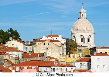 Alfama downtown and Monastery os S Vicente de Fora in...