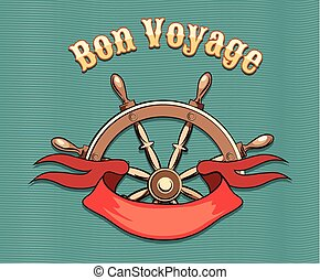 Bon Voyage - Nautical steering wheel and red ribbon and...