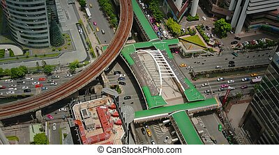 Aerial View of T Junction in Thailand with Skytrain Rail and...