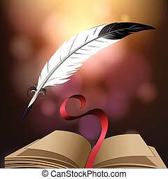 Poetry - Open book and quill pen against fantasy background...