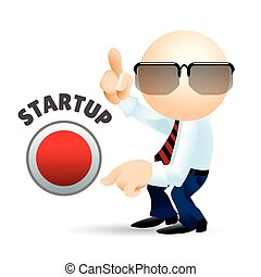 Startup - Simplified man with pointing fingers and startup...