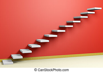Ascending stairs of rising staircase in empty red room with...