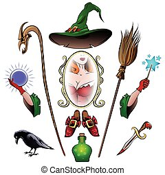 Witch Accessories Set - Witch accessories colorful set....