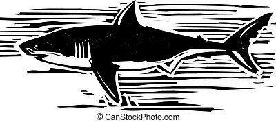 Great White - Woodcut style image of a great white shark