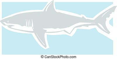 Greta White Clean - Clean graphic image of a great white...
