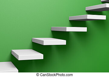 Ascending stairs on the green wall - Ascending stairs on the...