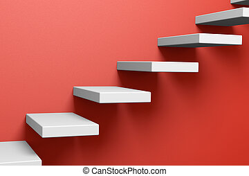 Ascending stairs on the red wall - Ascending stairs on the...