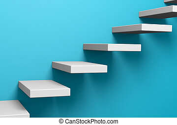 Ascending stairs on the blue wall - Ascending stairs on the...