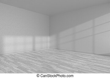 White empty room corner with white parquet floor - White...