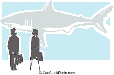 Dangerous Shark Meeting - Woodcut style expressionistic...