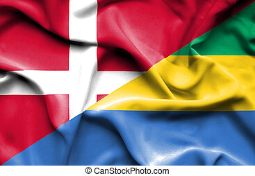 Waving flag of Gabon and Denmark