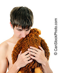 Young Man with Plush Toy Isolated on the White Background
