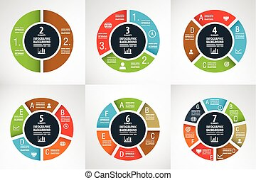 Six wheel charts for infographics, presentations and...