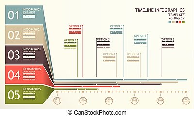 Timeline infographics template with space for mentions and...