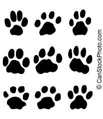 jaguar paw - Black print of jaguar paw, vector