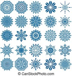 Set of twenty five blue snowflakes - Set of twenty five blue...